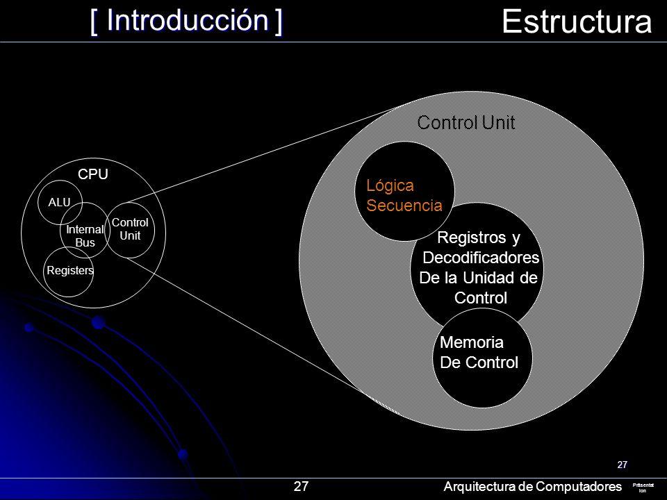 Estructura [ Introducción ] Control Unit Lógica Secuencia Registros y